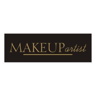 Elegant Cool Stylish Grey Gold Makeup Artist Mini Business Card