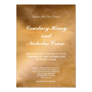 Elegant Copper And White Wedding Invitations