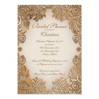 Elegant Copper Foil Leaf Bridal Shower Invitations