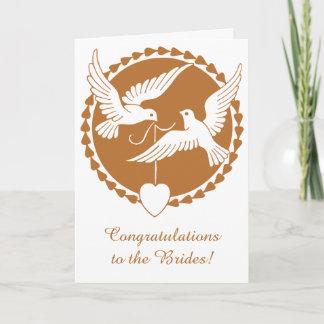 Elegant Copper Love Doves Lesbian Wedding Card