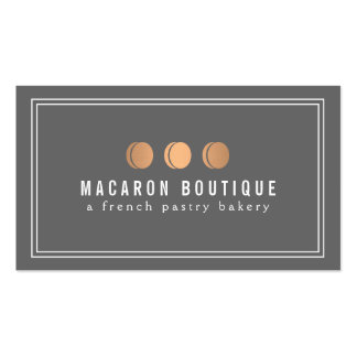 Elegant Copper Macaron Trio Logo on Gray Double-Sided Standard Business Cards (Pack Of 100)