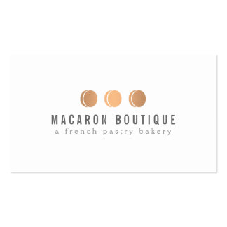 Elegant Copper Macaron Trio Logo on White Business Card Templates