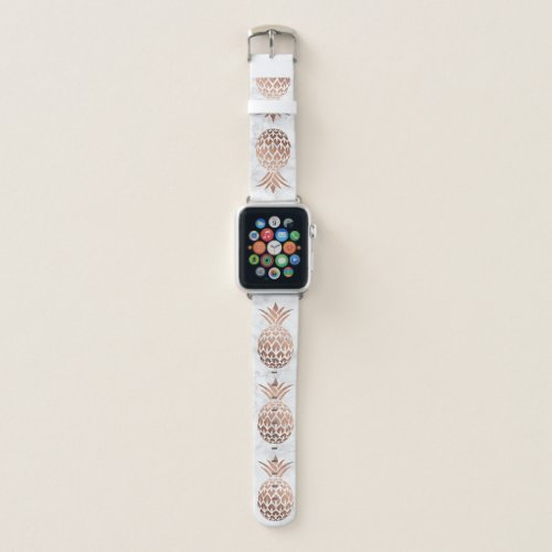 Elegant copper rose gold white marble pineapple apple watch band