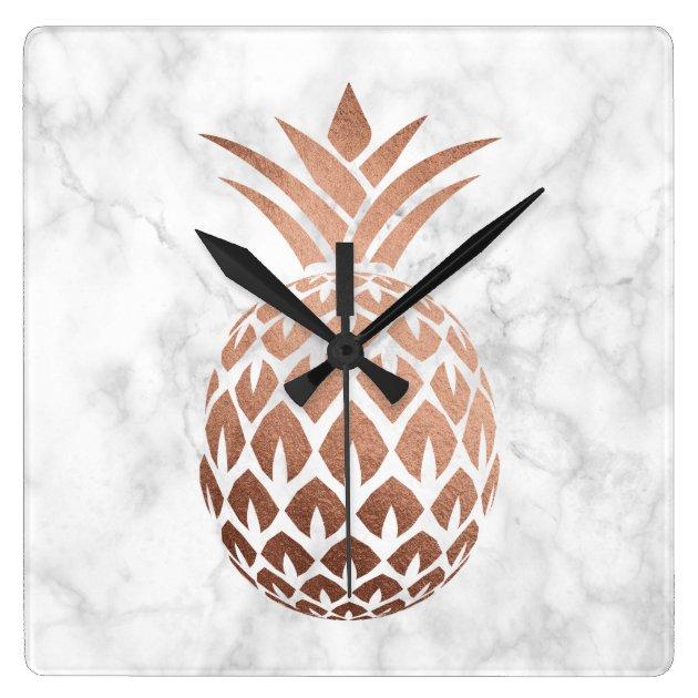 Elegant Copper Rose Gold White Marble Pineapple Square Wall Clock Zazzle Com