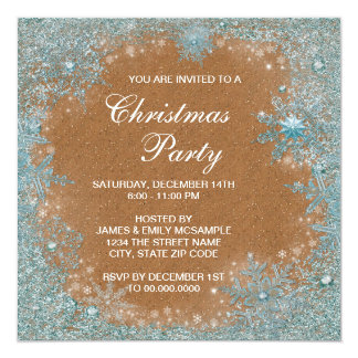 Elegant Copper Teal Blue Snowflake Christmas Party Card