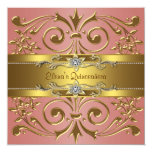 """Elegant Coral and Gold Birthday Party 5.25"""" Square Invitation Card"""