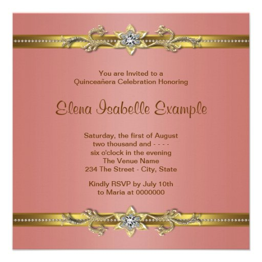 Elegant Coral and Gold Quinceanera Announcements (back side)