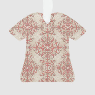 Elegant Coral and Off White Floral Damask Pattern Ornament