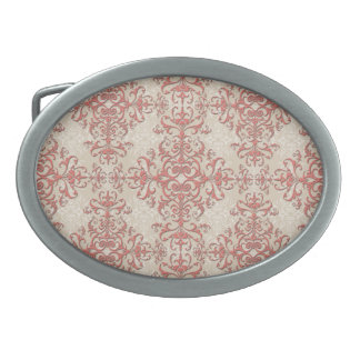 Elegant Coral and Off White Victorian Style Damask Belt Buckles