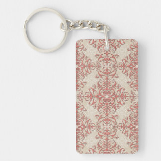 Elegant Coral and Off White Victorian Style Damask Keychain