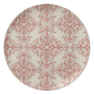 Elegant Coral and Off White Victorian Style Damask Party Plate