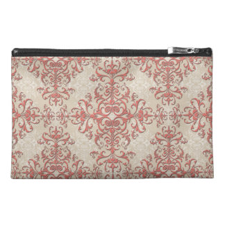 Elegant Coral and Off White Victorian Style Damask Travel Accessory Bag