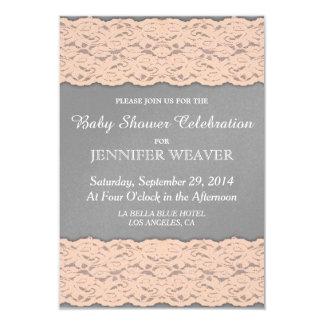 Elegant Coral and Soft Grey Lace Design 3.5x5 Paper Invitation Card