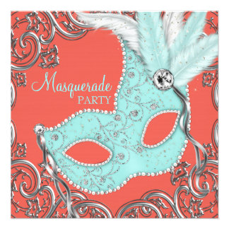 Elegant Coral and Teal Blue Masquerade Party Custom Announcement