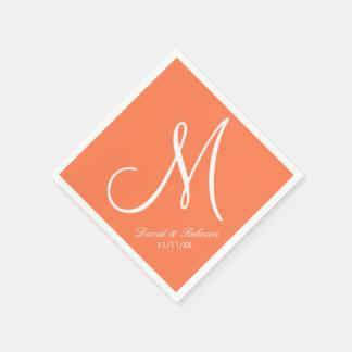 Elegant Coral and white Monogram Standard Cocktail Napkin