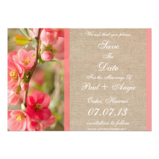 Elegant Coral Blossom Burlap Save The Date Invite