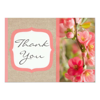 Elegant Coral Blossom Burlap Thank You Card / Note