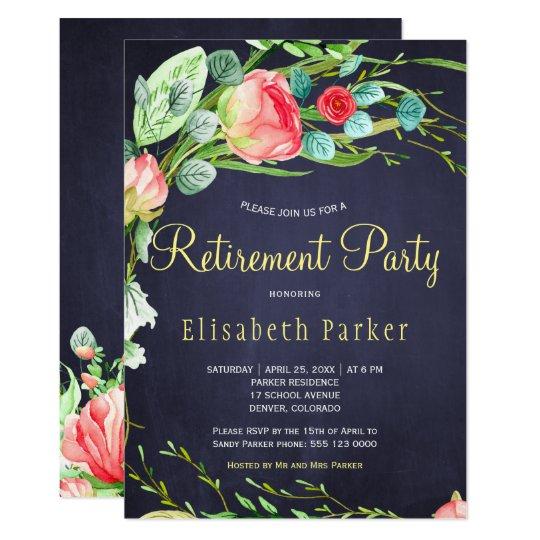 Elegant Coral Blush Garden Roses Retirement Party Invitation