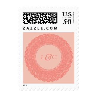 Elegant coral & blush pink lace postage stamp