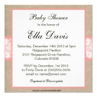 Elegant Coral Burlap Lace Baby Shower Invitation
