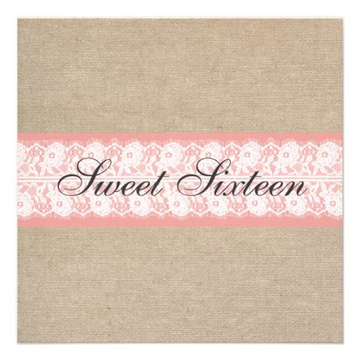 Elegant Coral Burlap Lace Sweet Sixteen Birthday Custom Invitation