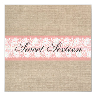 Elegant Coral Burlap Lace Sweet Sixteen Birthday 5.25x5.25 Square Paper Invitation Card