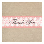 "Elegant Coral Burlap Lace Thank You Card / Note 5.25"" Square Invitation Card"