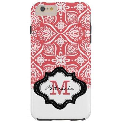Elegant Coral  Damask Pattern Custom Monogram [3] Tough iPhone 6 Plus Case