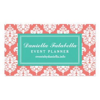 Elegant Coral Damask Personalized Double-Sided Standard Business Cards (Pack Of 100)