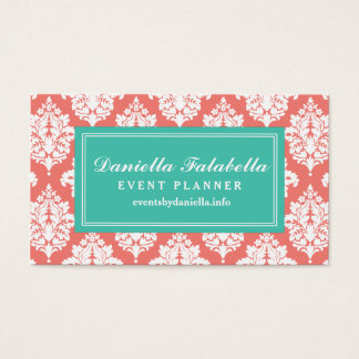Elegant Coral Damask Personalized Business Card