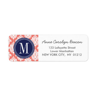 Elegant Coral Damask Personalized Label
