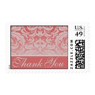 Elegant Coral Damask Thank You Postage Stamp