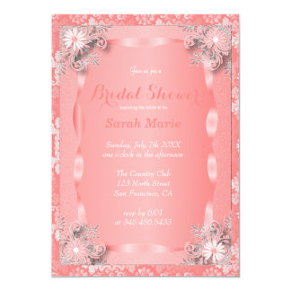 Elegant Coral Flowered Party Template Card