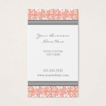 Professional Business Elegant Coral Gray Damask Business Cards