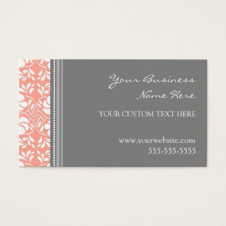 Elegant Coral Gray Damask Business Cards