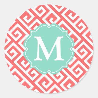 Elegant Coral Greek Key Personalized Classic Round Sticker