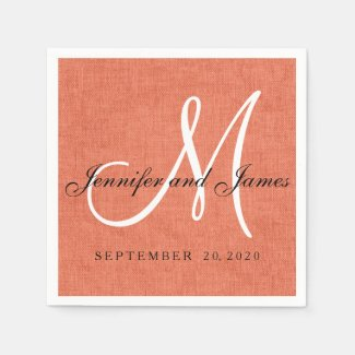 Elegant Coral Linen Monogram Wedding Paper Napkins
