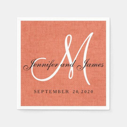 Elegant C Linen Monogram Wedding Paper Napkins