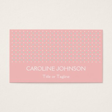 Professional Business Elegant Coral Mint Green Polka Dot Spot Pattern Business Card