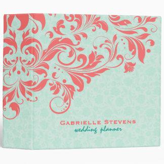 Elegant Coral & Mint-Green Vintage Floral Damasks 3 Ring Binder