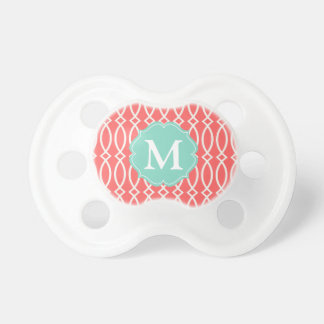 Elegant Coral Modern Trellis Personalized Pacifier