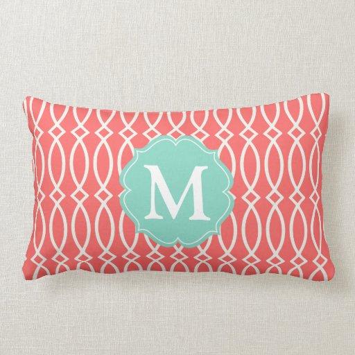 Modern Initial Pillow : Elegant Coral Modern Trellis Personalized Pillows Zazzle