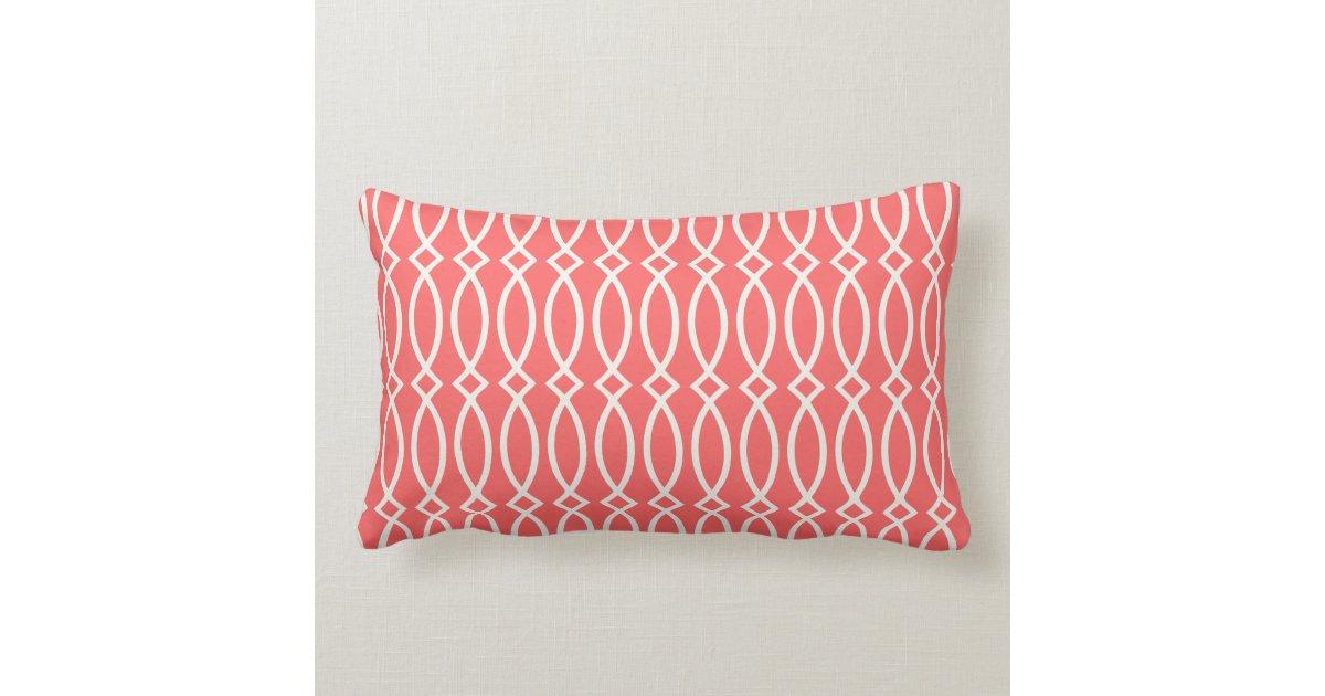 Elegant Coral Modern Trellis Personalized Throw Pillow Zazzle
