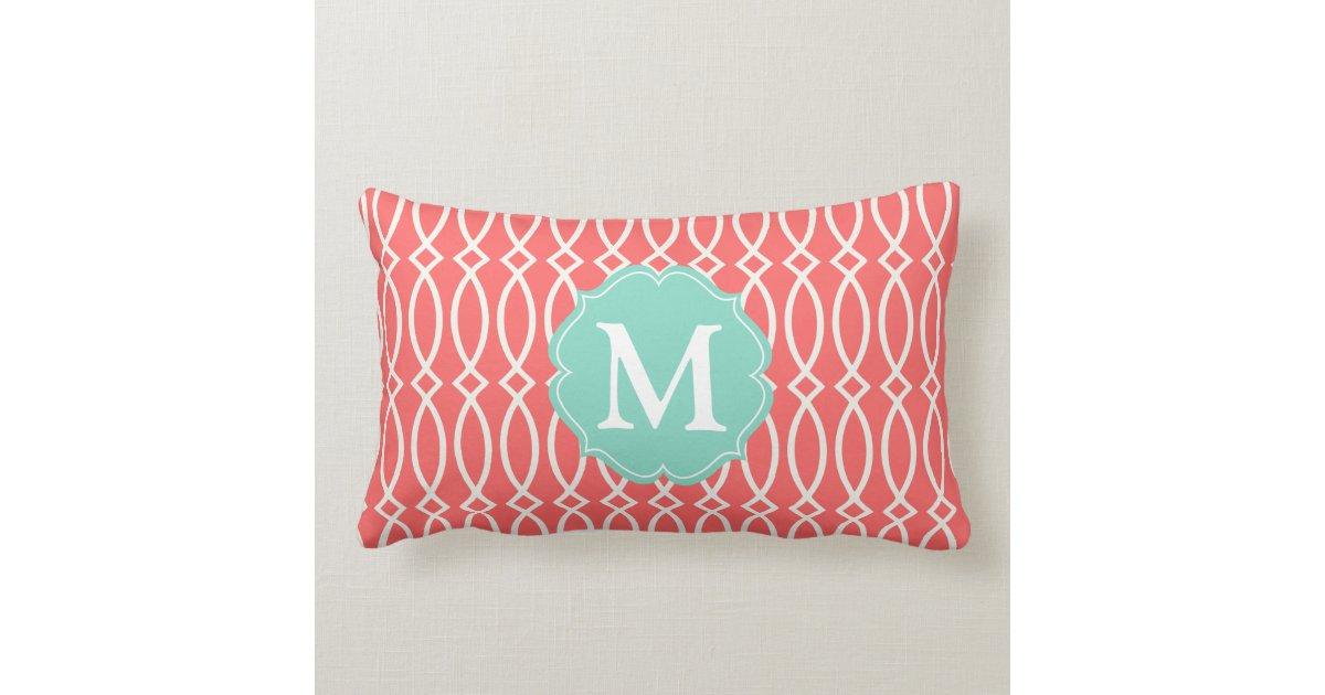 Modern Initial Pillow : Elegant Coral Modern Trellis Personalized Throw Pillow Zazzle