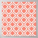 Elegant Coral Moroccan Trellis Quatrefoil Clover Print