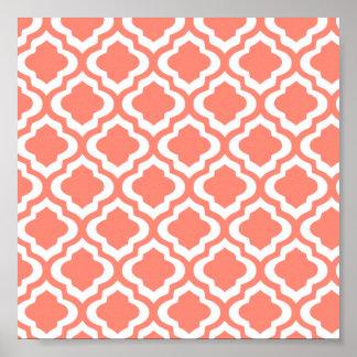 Elegant Coral Moroccan Trellis Quatrefoil Clover Poster
