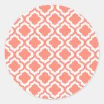Elegant Coral Moroccan Trellis Quatrefoil Clover Round Stickers