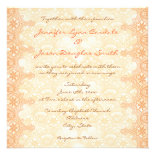 Elegant Coral Peach Lace Damask Wedding Invitation