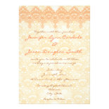 Elegant Coral Peach Lace Wedding Invitations