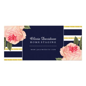 Professional Business Elegant Coral Peonies on Navy Gift Certificate